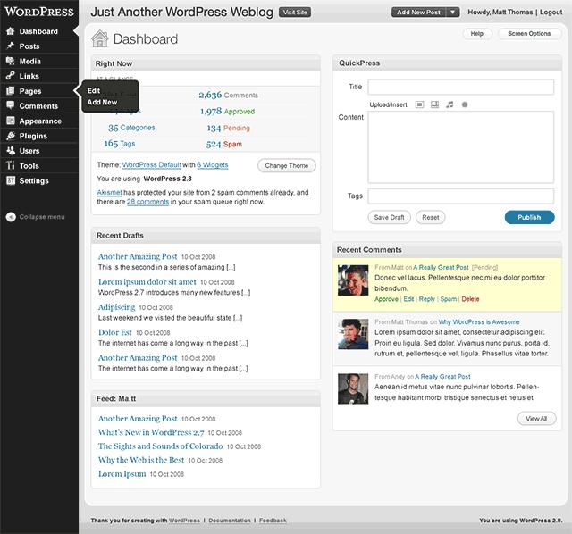 Screenshot - nowy design panelu admina w WP 2.9