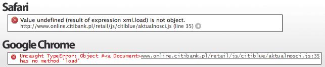 Raport konsoli błędów JS w Safari/Chrome