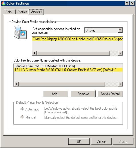 Ustawienia w rozszerzeniu Color Control Panel Applet